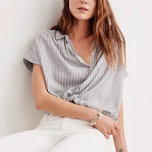 Madewell Striped Short Sleeve Button Down Blouse